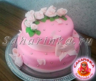Свадебный торт с цветами  заказать и купить белый