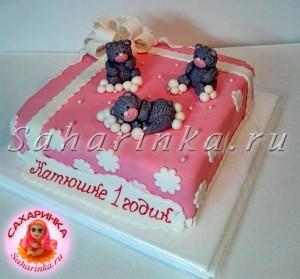 торт на годик девочке с мишками