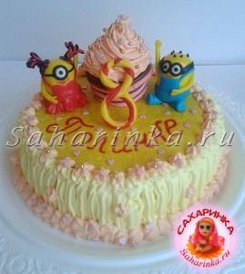 торт с миньонами девочке