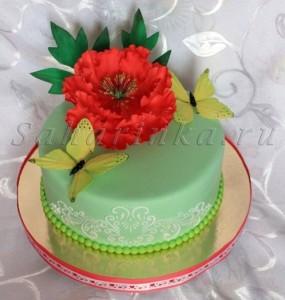 торт с бабочками и цветком
