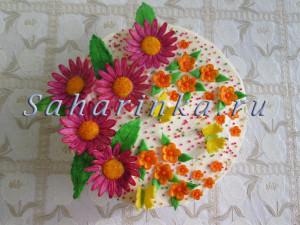 торт с цветами из мастики