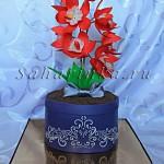 торт горшок с цветами