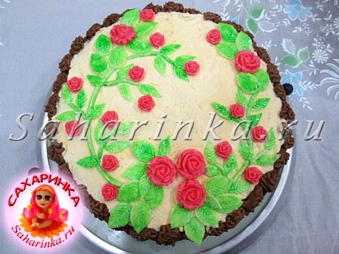 Торт из мастики с розами мастер класс