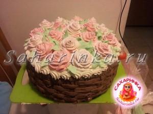 кремовый торт-корзина